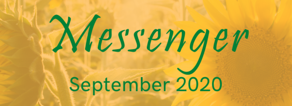 Sunflower graphic with words Messenger and September 2020