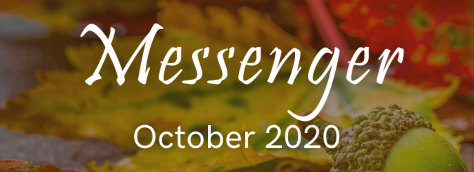 October 2020 Messenger graphic with acorn and colorful leaves