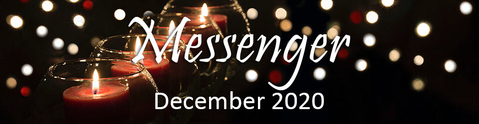 December Messenger graphic with candles in dark room and holiday lights